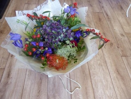 Bold & colourful handtied bouquet