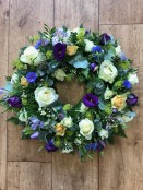 Periwinkle funeral wreath