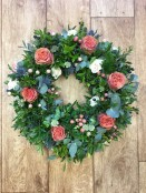 Country garden funeral wreath