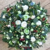 Cream and green funeral posy
